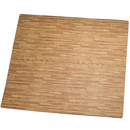 HemingWeigh Printed Wood Grain Interlocking Foam Anti Fatigue Floor Puzzle Mats, Makes a Superior Fitness, workout and exercise mat, Thick, Durable & Safe for all Ages - Set of 4 Tiles (Light Brown)