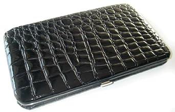 Black Croc Flat Wallet