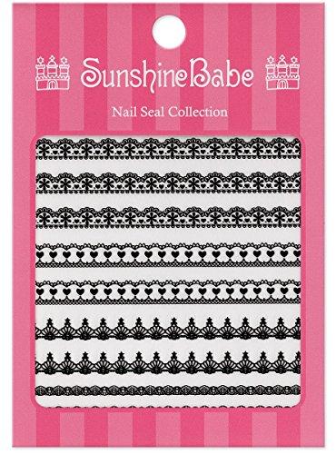 SunshineBabe ネイルシール レースB ブラック