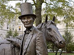 At Abraham Lincoln's Summer Home in Washington, D.C., a Statue of Him with His Horse - Moving 16x20-inch Photographic Print By Carol M. Highsmith