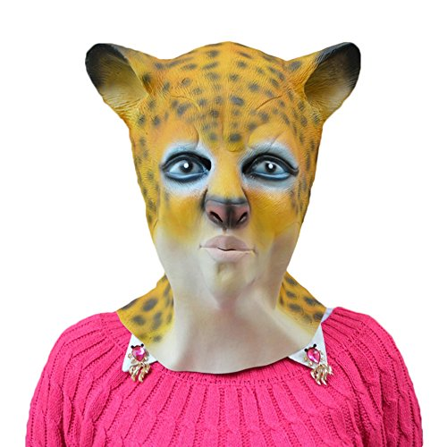 KM Halloween Animal Latex Masks Masquerade Mask Leopard Head Mask