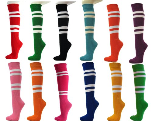 Couver White Striped Knee High Softball/Sports Socks