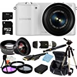 Samsung NX2000 Smart Wi-Fi Digital Camera Body & 20-50mm Lens (White) Kit. Includes 0.45X Wide Angle Lens, 2X Telephoto Lens, 3 Piece FilterHigh Capacity Replacement Battery, Tripod, Case & More