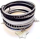 Black and silver Wire Bangles with butterfly charm