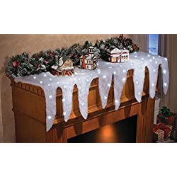 Lighted Snow Icicle Holiday Christmas Mantel Scarf