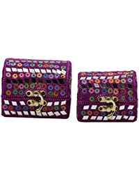 Handcrafted Designer Set Of 2 Gift & Jewellery Boxes In Pink Colour