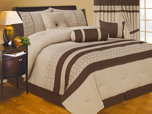 Fancy Linen Ana 7-Pc Microfiber Embroidery Beige Brown Comforter Set Bed In A Bag New (King) front-357575