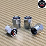Audi Black & Chrome Wheel Valve Dust Caps. RS4 Quattro RS6 Avant A4 A6 Q7 ** SOLD OVER 1000 + **