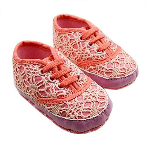 Comemall Baby Kids Toddlers Girls Princess Lace-Up Shoes Soft Sole First Shoes 0-18 Month (5, Red) front-40894