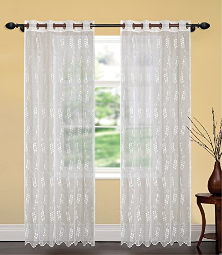 United Linens- 1 piece Embroidery window curtains jamine (52x84) (White) Window treatments for kitchen and drapes for living room and bedroom panels grommet (white) (Sliding Door Semi Sheer Curtains compare prices)