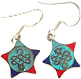 Exotic India Endless Knot (Ashtamangala) Inlay Earrings - Sterling Silver