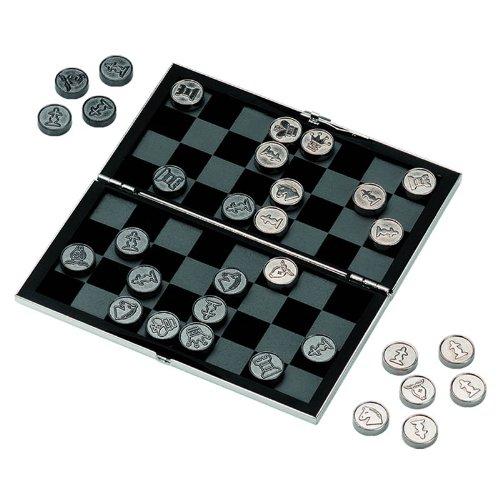 Jeux d'échec et de dames, de voyage, plaqué argent