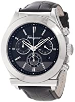 Salvatore Ferragamo Men's F78LCQ9909 SB09 Salvatore Ferragamo 1898 Steel Case Black Dial Leather Chronograph Watch from Salvatore Ferragamo