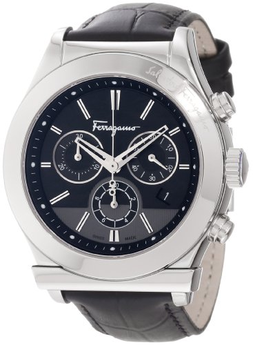 Ferragamo Men's F78LCQ9909 SB09 Ferragamo 1898 Steel Case Black Dial Leather Chronograph Watch