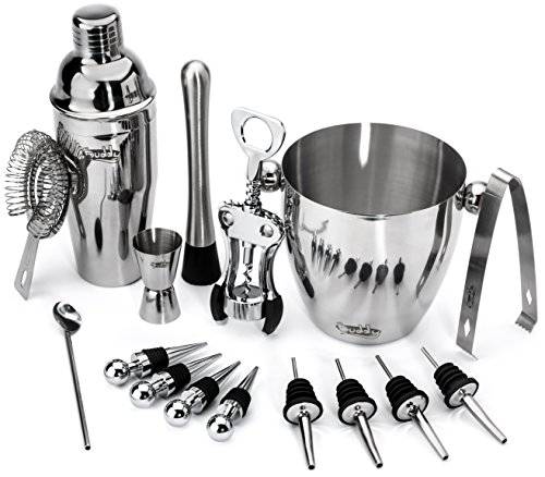 Stainless Steel Wine and Cocktail Bar 10 Piece Set Includes Essential Barware Tools and Ice Bucket w/Bonus 1000 Bartender Recipes eBook (Metrokane Ice Crusher compare prices)