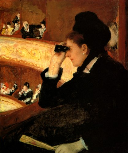 At The Opera 1880 Woman With Binoculars American Painting By Mary Cassatt Large Repro On Canvas