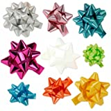 30pc Designer Bright Colored Gift Bow Assortment - Elegant Metallic, Iridescent, Holographic, Glitter, Lacquer Finishes