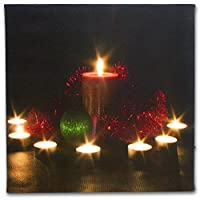 Wall Art with LED Lights Canvas Print Lighted Candle Picture -7 Candles