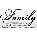 Family like branches on a tree, we all grow in different directions yet our roots remain as one Wall Art Quotes Sticker