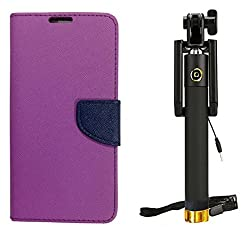 Novo Style Wallet Case Cover For Micromax Canvas Selfie Lens Q345 Purple + Wired Selfie Stick No Battery Charging Premium Sturdy Design Best Pocket Sized Selfie Stick