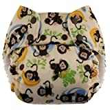 Blueberry One Size Deluxe Pocket Diapers, Monkeys