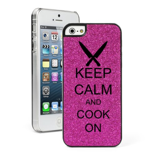 Hot Pink Apple Iphone 5 5S Glitter Bling Hard Case Cover 5G163 Keep Calm And Cook On Chef Knives