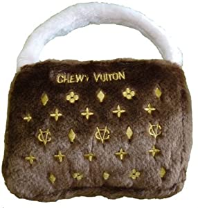Classic Brown Chewy Vuiton Purse Dog Toy