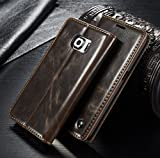 FLY SELINA Samsung Galaxy S6 Edge ケース 高級 レザー 手帳型 横開き カバー 革 マグネット式 カード収納 スタンド機能 ギャラクシー S6 エッジ 財布型 カバー 耐衝撃 ブラウン