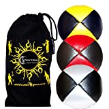 3x Pro Juggling Balls Deluxe (Leather/Pu) Professional Juggling Balls Set Of 3 + Fabric Travel Bag. (Black With... - B00FCVSNHY