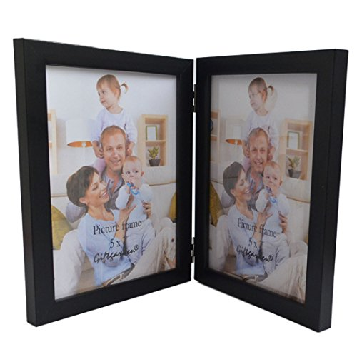 Giftgarden 5 by 7 inch Double Wood Picture Frame PVC lens Photo for 5x7 (Side By Side Frame 5x7 compare prices)