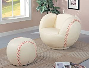 Amazon Com Children Baseball Chair And Ottoman