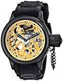 Invicta 17279 Men's Russian Diver Black IP Steel Skeleton Gold Tone Dial Strap Watch