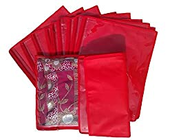 Kuber Industries Non Wooven Single Saree Cover 12 Pcs Set Red