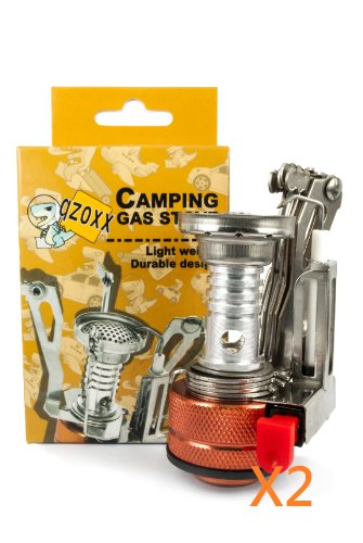 Qzoxx Ultralight Backpacking Canister Camp Stove With Piezo Ignition Silvery Stove And Box X2, 3.9-Ounce, Orange