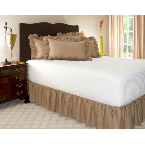 "Queen Camel Ruffled Bed Skirt With 14"" Drop back-1070098"