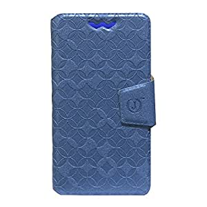 Jo Jo Cover Aarav Series Leather Pouch Flip Case With Silicon Holder For Spice Mi-422 Smartflo Pace Exotic Blue