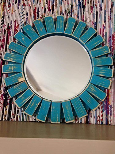 Sunburst Wall Mirror Round Wood Frame Red 22'' Flamingo Red 5