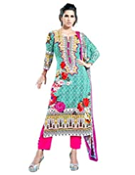 Surat Tex Green Color Digital Print Cotton Semi-Stitched Salwar Suit-D320DL2407SA