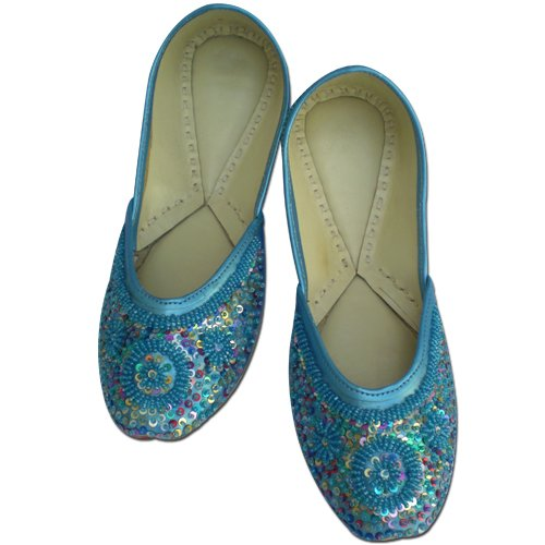 Image of Attractive Blue Bead & Sequins Work Rexin Women Shoe with Leather Base - US Size: 7 (B008R7515W)