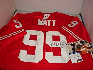JJ Watt Signed Wisconsin Badgers Jersey, PSA DNA Authenticated, with picture signing