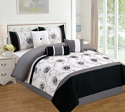 Modern 7 Piece Bedding Black / White / Grey Floral Embroidered QUEEN Comforter Set with accent pillows