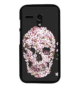 Flower Skull 2D Hard Polycarbonate Designer Back Case Cover for Motorola Moto G :: Motorola Moto G (1St Gen)