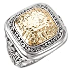 925 Silver Hammered Square Ring with 18k Gold Accents- Size 6