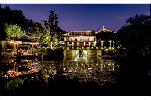 Photographic Print Of Illuminated Wen Ying Ge Tea House And Pavilion At West Lake, Hangzhou,