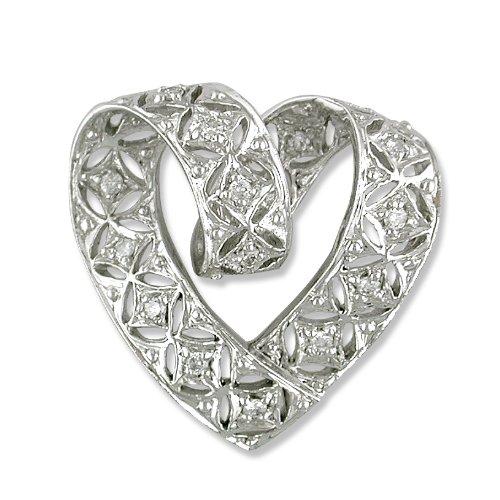14k White Gold Diamond Slide Pendant with 18in. chain