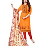 Apple Creation Orange Dress Material Suit with Matching Dupatta