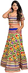 Exotic India Frosted-Almond Two-Piece Lehenga Choli with Ari-Embroidered - Gold