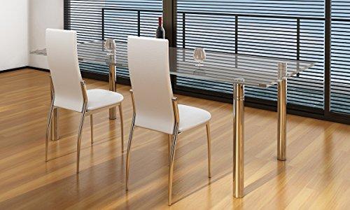 Coppia sedie bianche moderne ed eleganti sedia sala da for Sedie bianche sala da pranzo