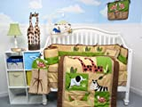 Boutique Safari Jungle Animals Baby Crib Nursery Bedding Set 13 pcs included Diaper Bag with Changing Pad &#038; Bottle Case
