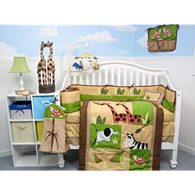 feature boutique safari jungle animals baby crib nursery. Black Bedroom Furniture Sets. Home Design Ideas